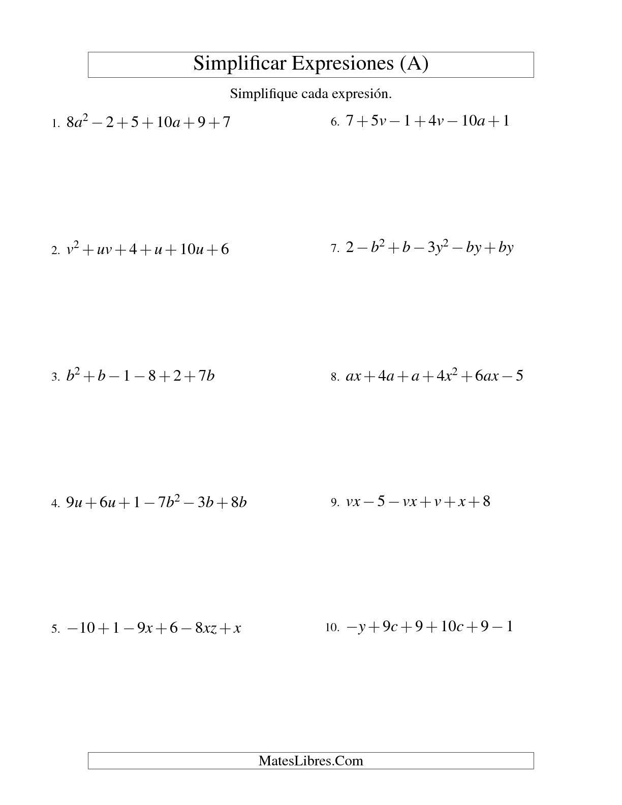 La hoja de ejercicios de Simplificar Expresiones Algebraicas, Suma y ...