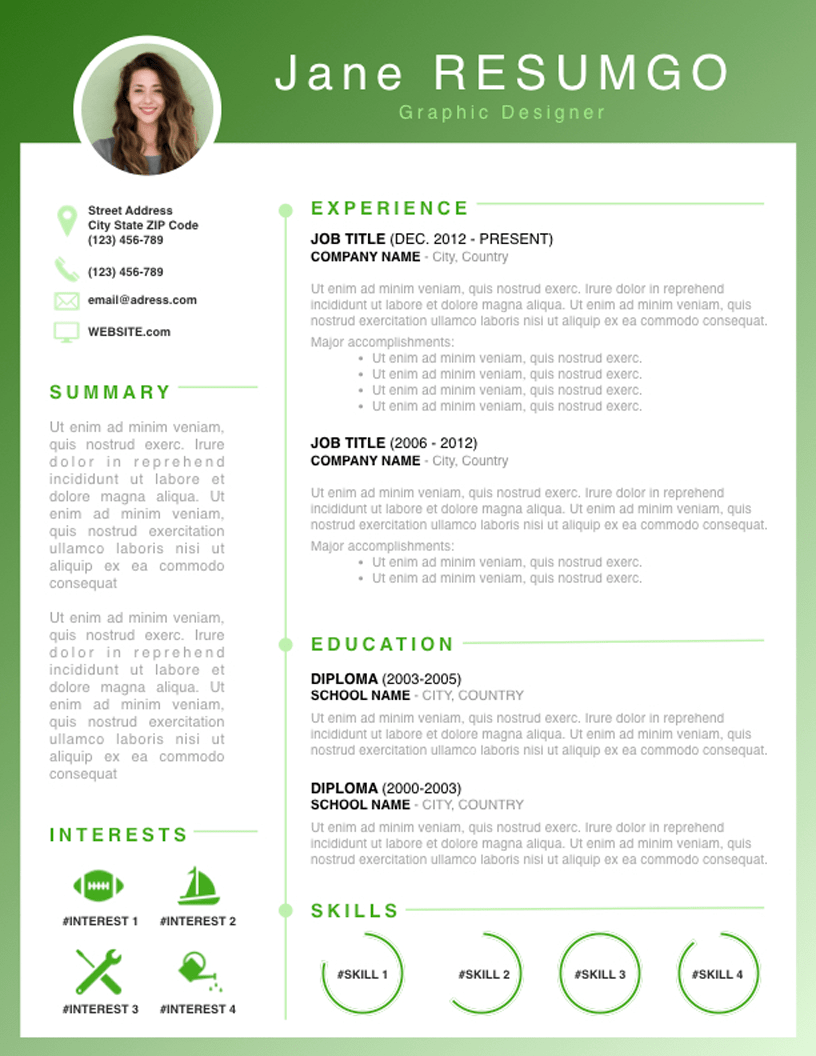 RHODA Fresh Resume Template (With images