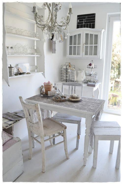 White vintage kitchen nook. How lovely!