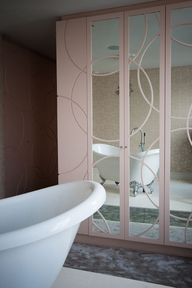 Free standing bath. Potter pink doors are lacquer sprayed with ...
