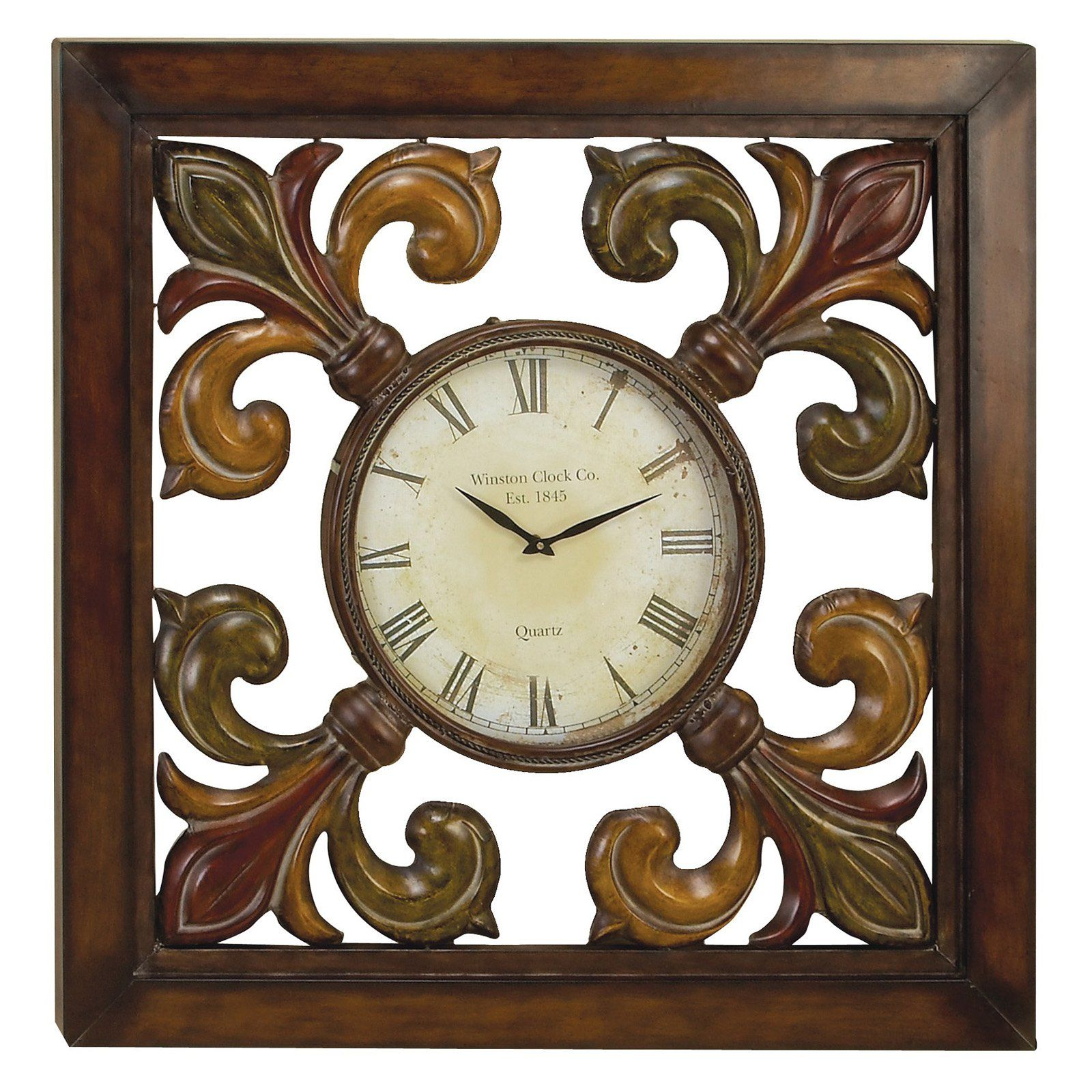 Have To Have It Square Iron Fleur De Lis Wall Clock 39w X 39h In Hayneedle Clock Wall Clock Metal Wall Clock