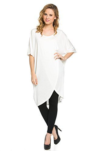 deb35c8c1bcbb Frumos Womens Short Sleeve Flowy Tunic Dress Round Neck Top Ivory XLarge      You can get additional details at the image link.(This is an Amazon  affiliate ...