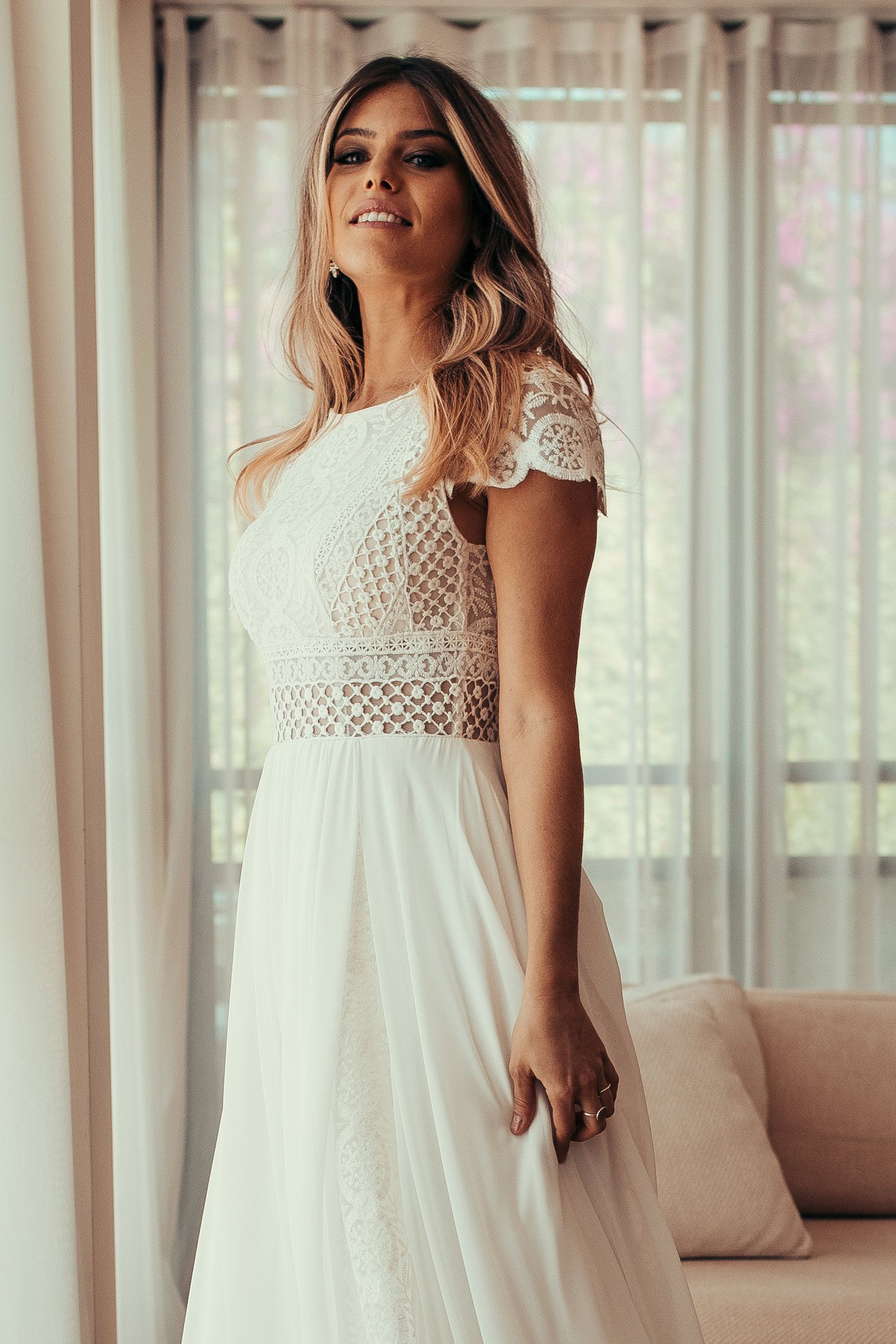 Kurzarm Damen Kleid, Vintage, Elfenbein, inspirierende BOHO, Boot Ausschnitt, häkeln, Chiffon, geometrische Spitze, Strand Hochzeit, KALA #hochzeitskleiderhäkeln