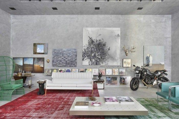 wandgestaltung ideen betonwände wohnzimmer vintage teppiche - moderne tapeten für wohnzimmer