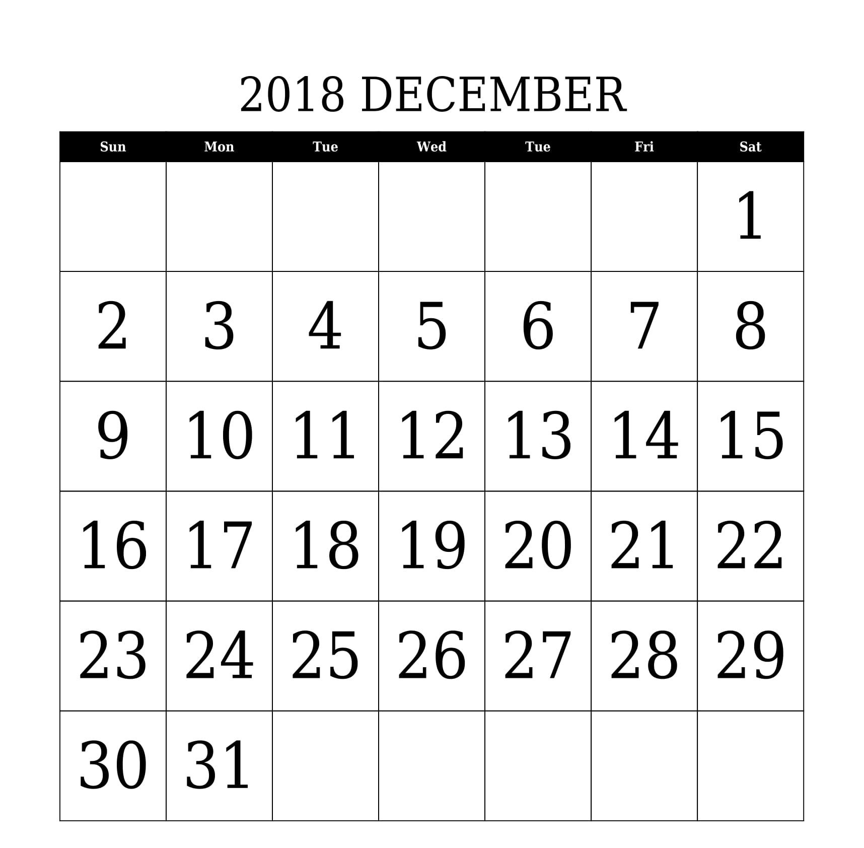 december 2018 calendar printable large date font size template