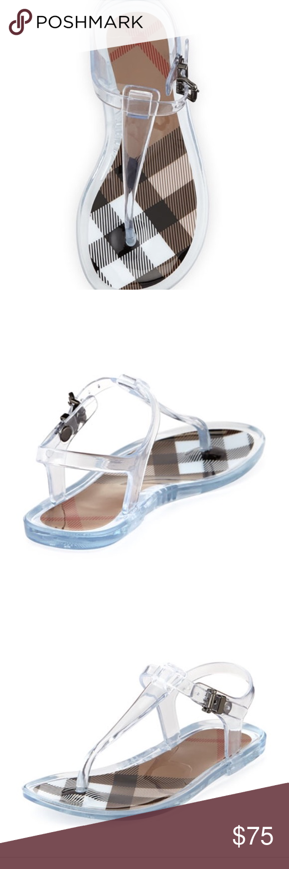 9246aaf442b Authentic Burberry kids clear thong sandal size 27 Preowned Burberry thong  sandals Size 27 Worn a