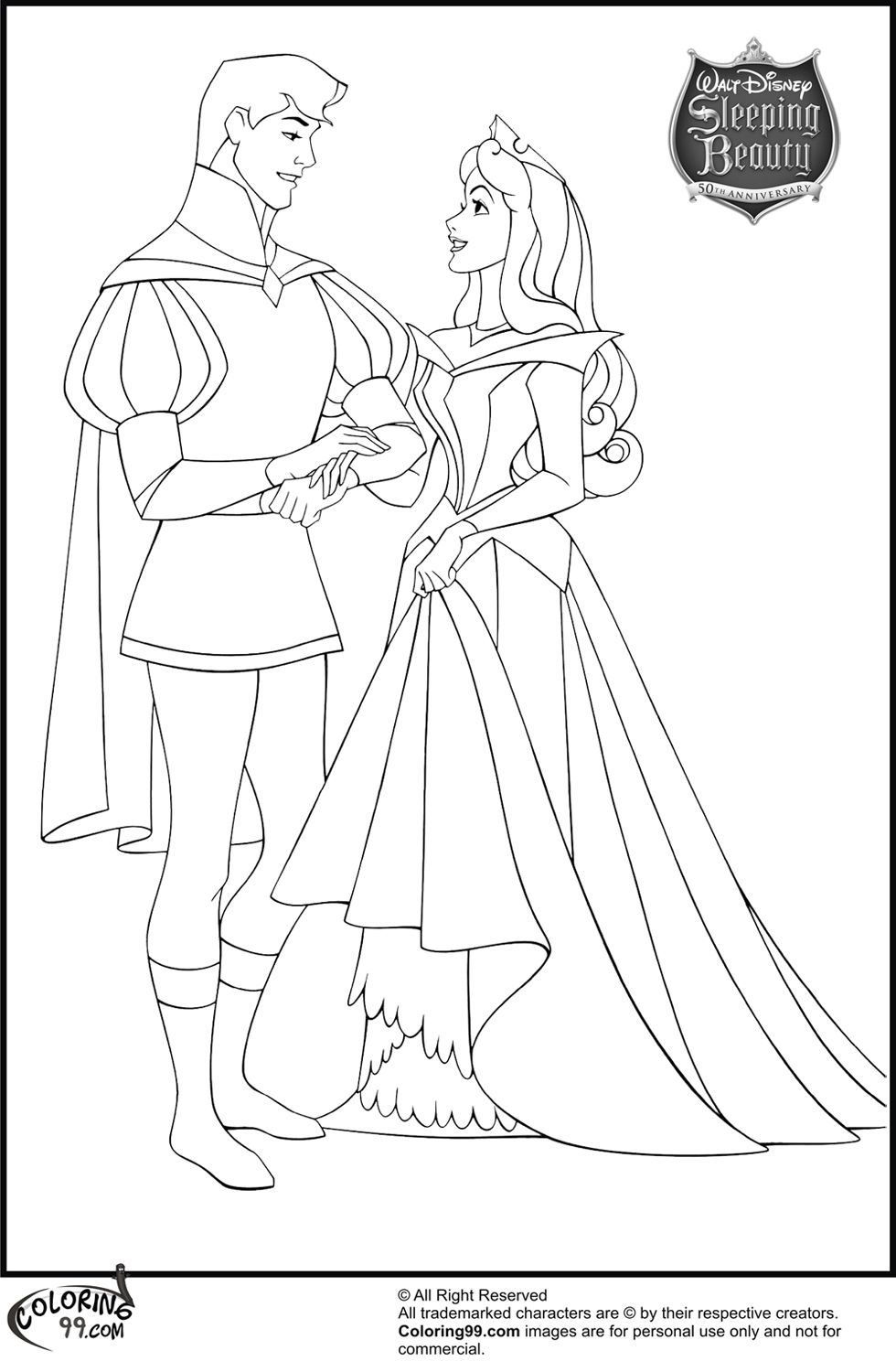Aurora And Prince Phillip Coloring Pages Disney Princess