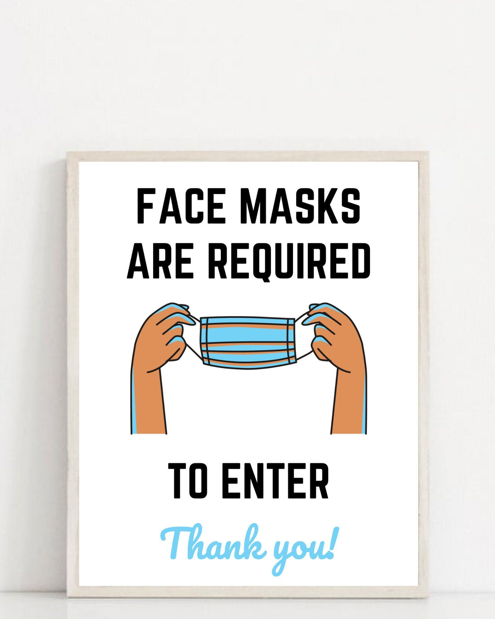 Face Masks Required to Enter Business Social Distance Sign
