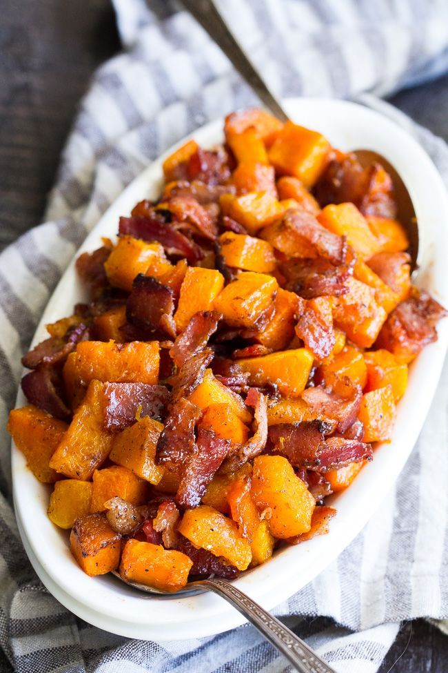 Maple Bacon Roasted Butternut Squash {Paleo}