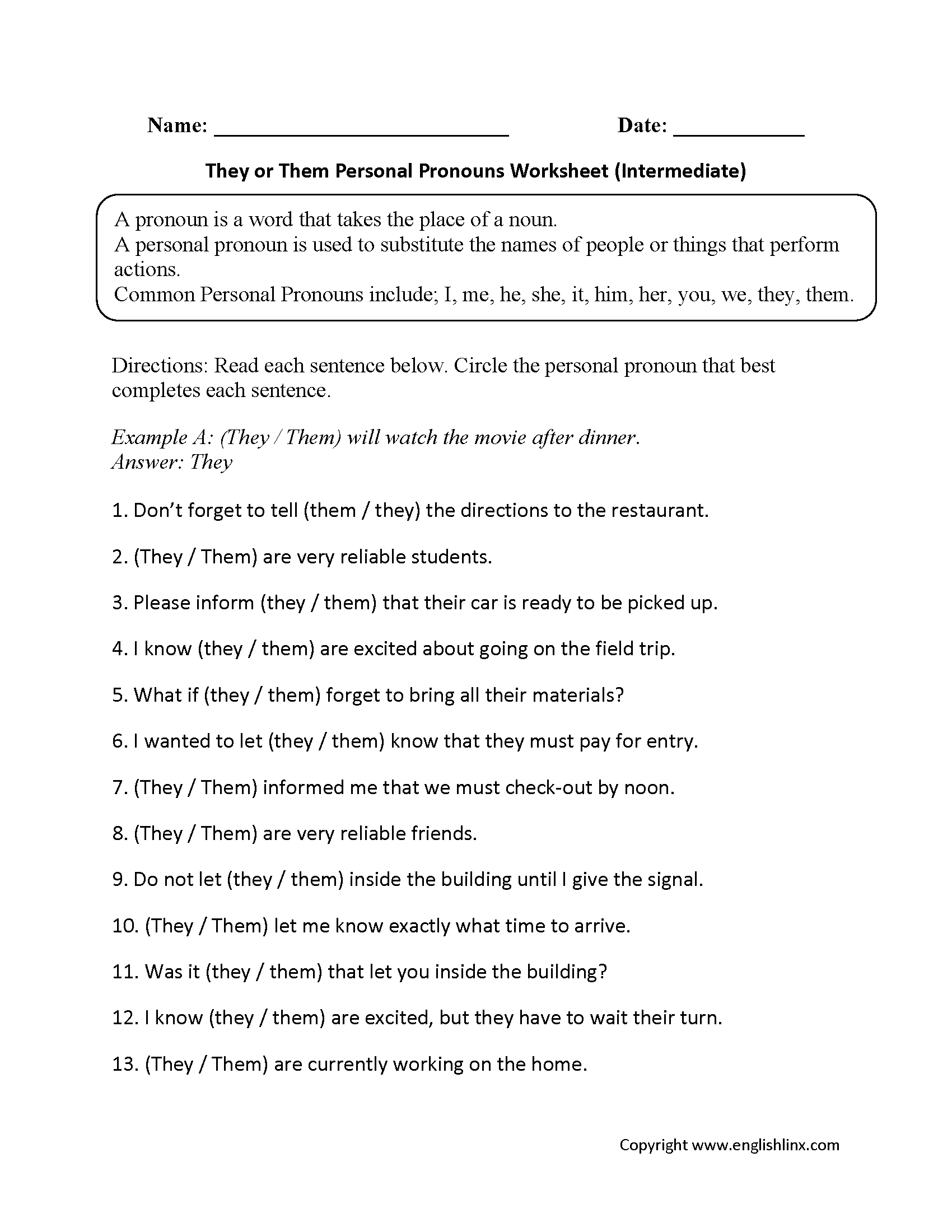 They Or Them Personal Pronouns Worksheets Intermediate