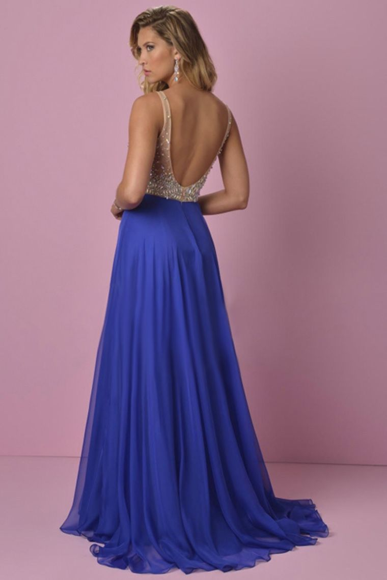 2015 Prom Dress V-Neck A-Line Beaded Tulle Bodice Sweep ...