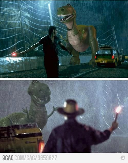 hahaha this made me laugh so hard! I remember watching this movie as a kid and being terrified of these parts....MUCH better with Rex from toy story :o)