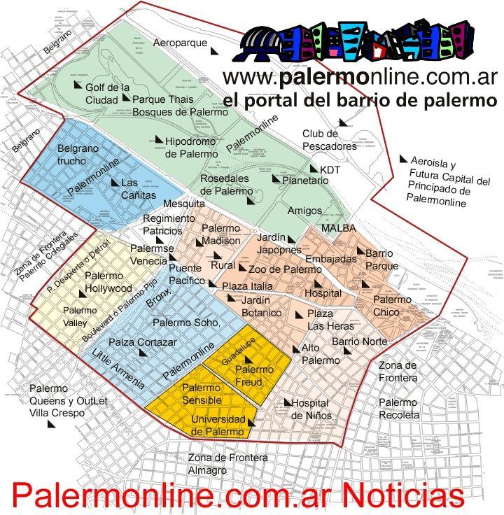 palermo mapa Mapa de Palermo | Buenos Aires in 2018 | Pinterest | Spanish palermo mapa