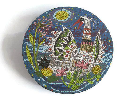 Vintage XOX Biskuitfabrik Cookie Tin Mosaic Decor by DieGelbeJacke