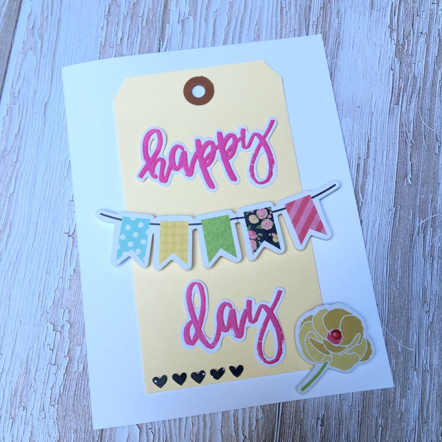 Happy Day, by Katherine Maynard using the Firefly collection from www.cocoadaisy.com #cocoadaisy #scrapbooking #kitclub #cards #diecuts #tags #banner