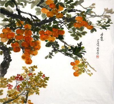(North Korea) Persimmon tree by Kim Man-seob (1941-  )