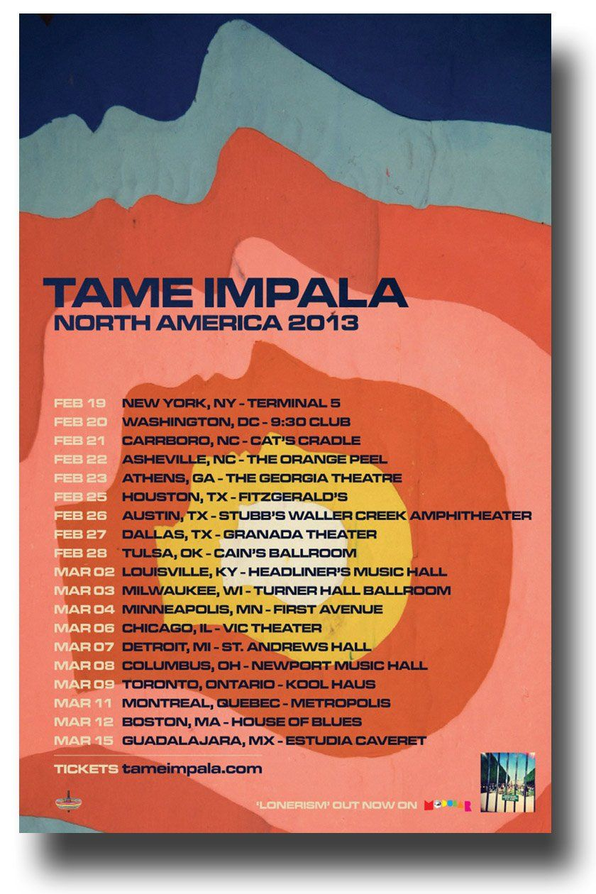 Tame Impala Poster 2013 Lonerism Tour North America 11 x 17 inches