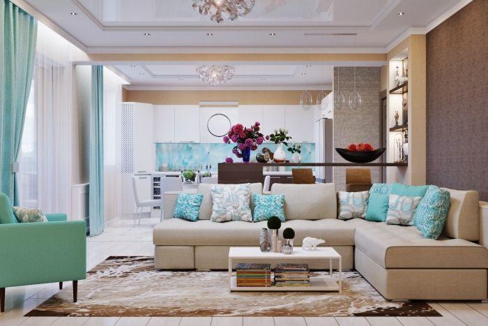 ▷ 1001 + conseils et idées pour aménager un salon blanc et beige - cuisine ouverte sur salon m
