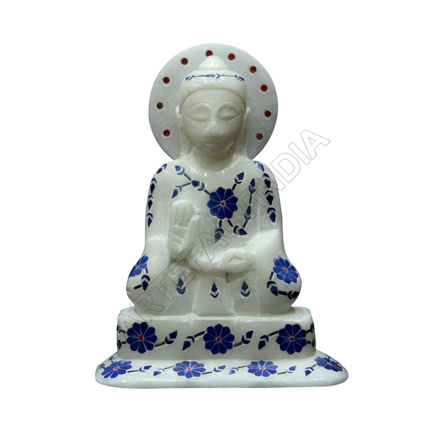 Marble Buddha Alabaster Marble Hand Carving Buddha Inlaid With