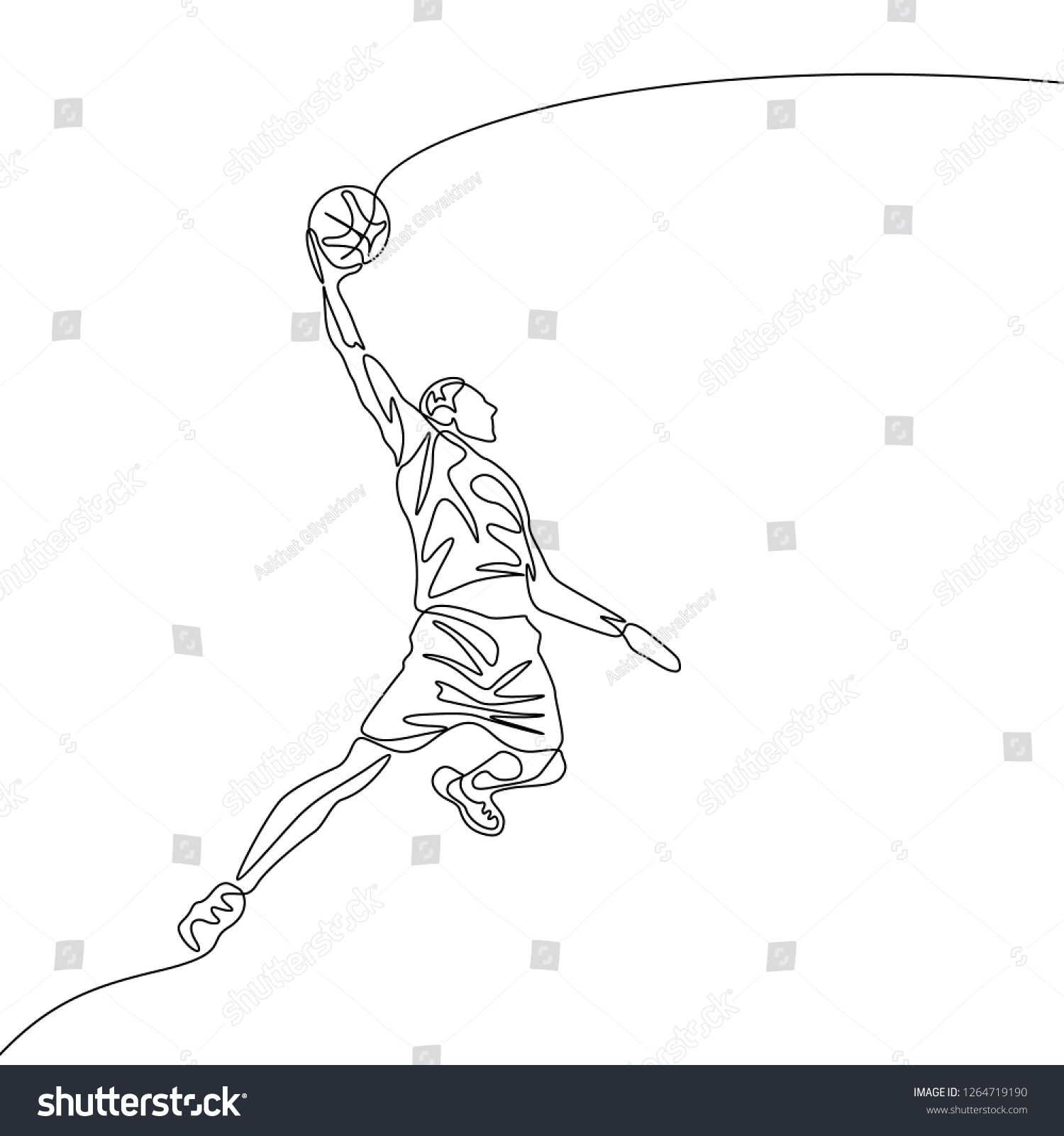 Continuous One Line Drawing Basketball Player Jumps Doing Slam Dunk Sport Theme Line Drawing Line Art Drawings Hipster Drawings