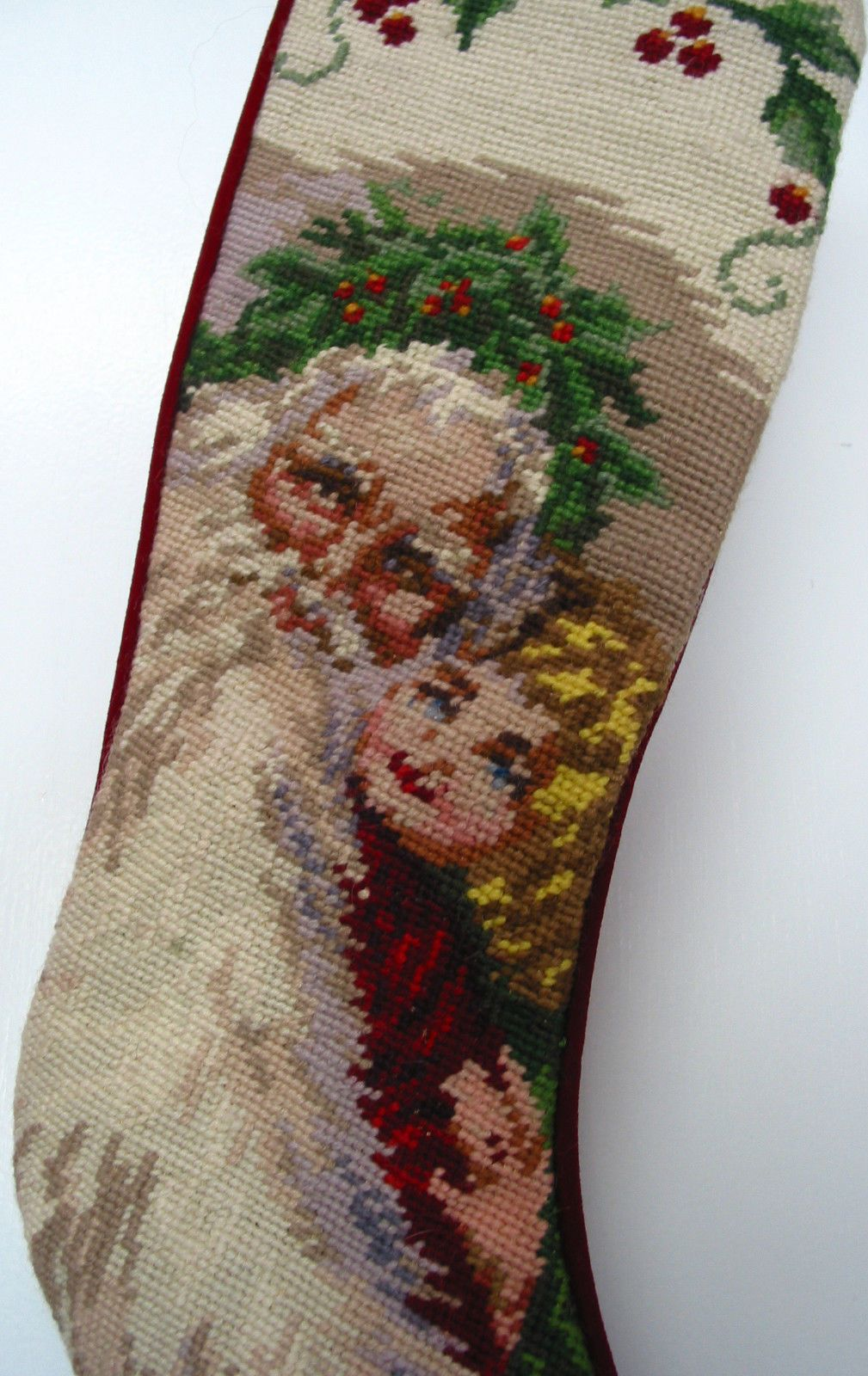 4 Vintage Hand Embroidered Needlepoint Christmas Stockings ...