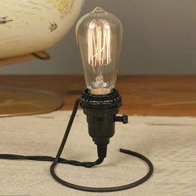 Wire Holder Converts Hanging Bare Lamp Bulb To A Table Lamp Wire Lights Diy Lighting Lamp