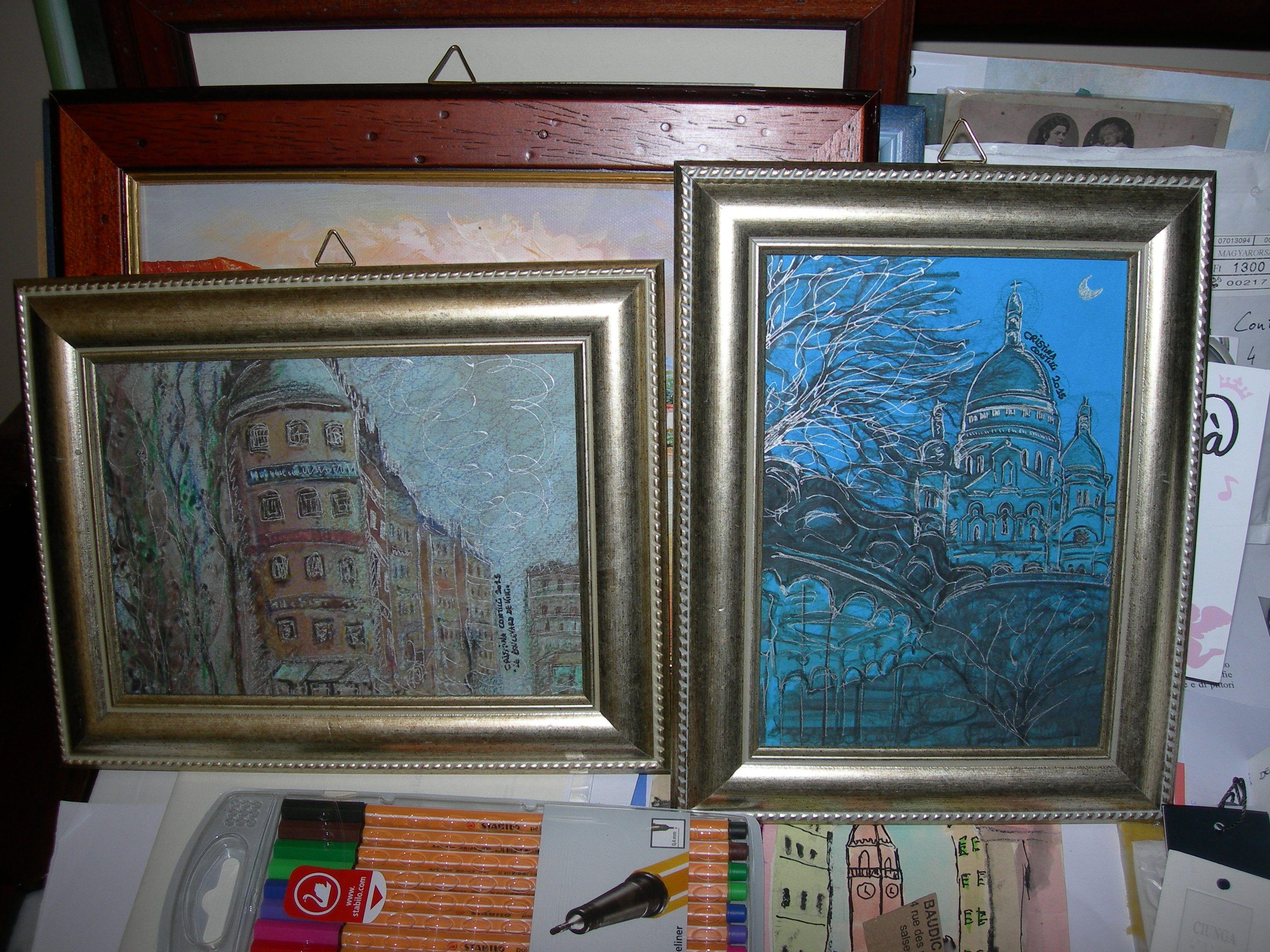 """Dalla foto al quadro... """"Le Boulevard de Kiki"""" e """"La giostrina di Montmartre sotto la luna""""... pastelli e pennarello argentato su cartoncino..."""