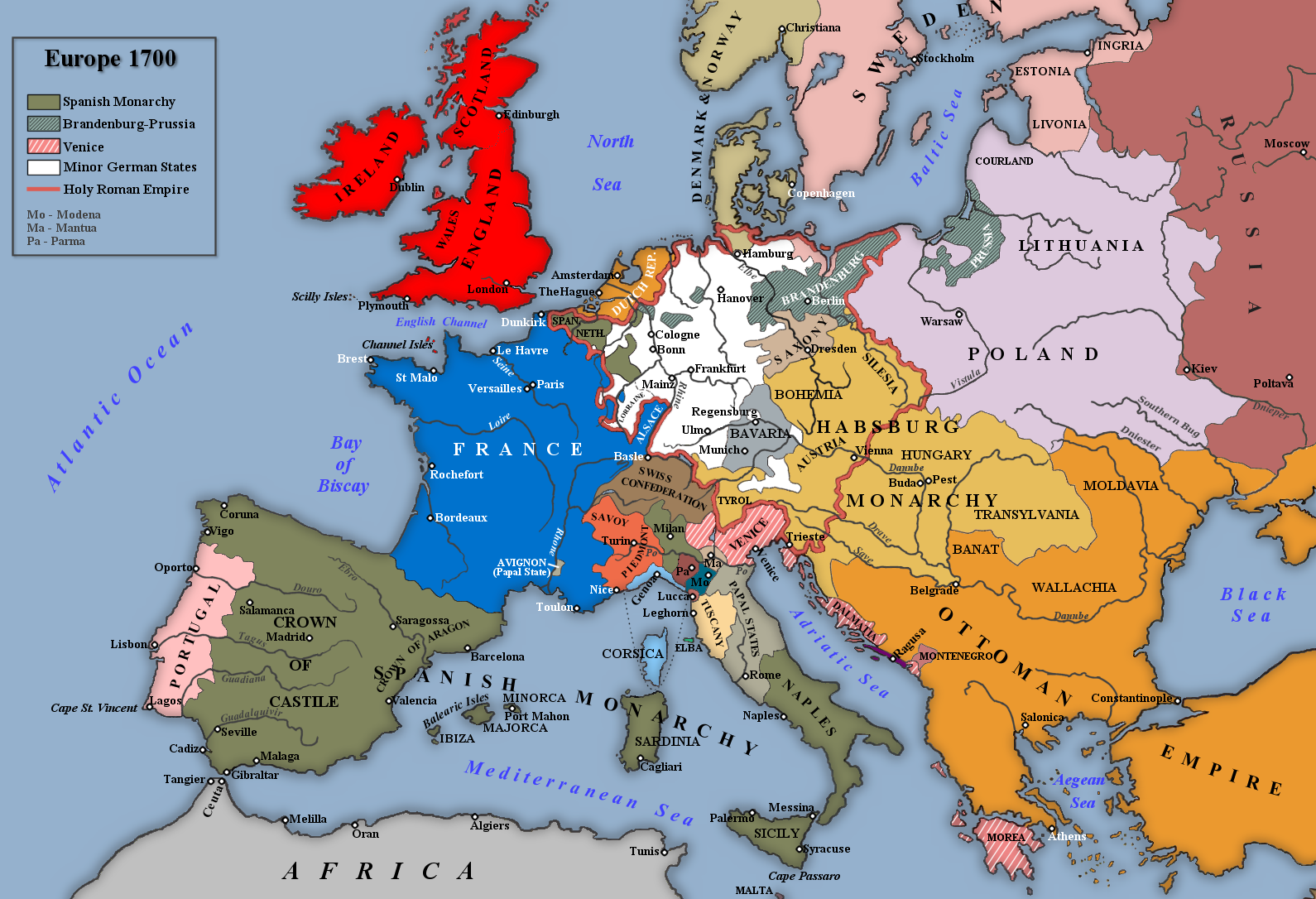 Map of Europe in 1700   Maps   Map, European history, Holy ...