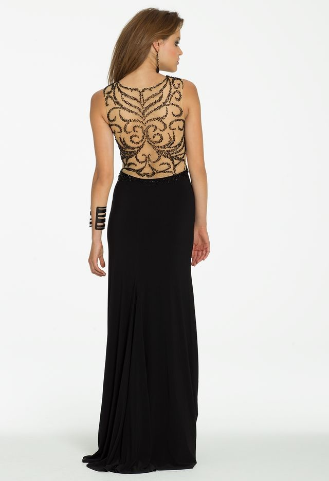058ba30efa Swirl Beaded Illusion Jersey Dress with Side Slit from Camille La Vie and Group  USA
