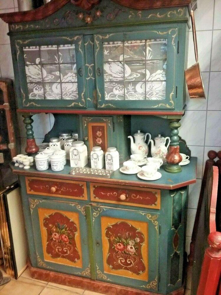 Bemalte Kuche Bauernmobel Single Schrank Eckbank Regale Bett Tisch Stuhl Antik Mobilya