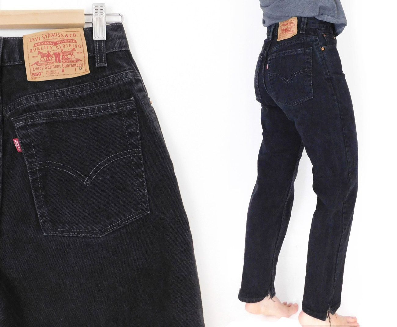2c1f289029174 Sz 8 90s Black Levi s 550 High Waisted Jeans - Women s Black Denim Relaxed  Fit Tapered Leg Mom Jeans - 28