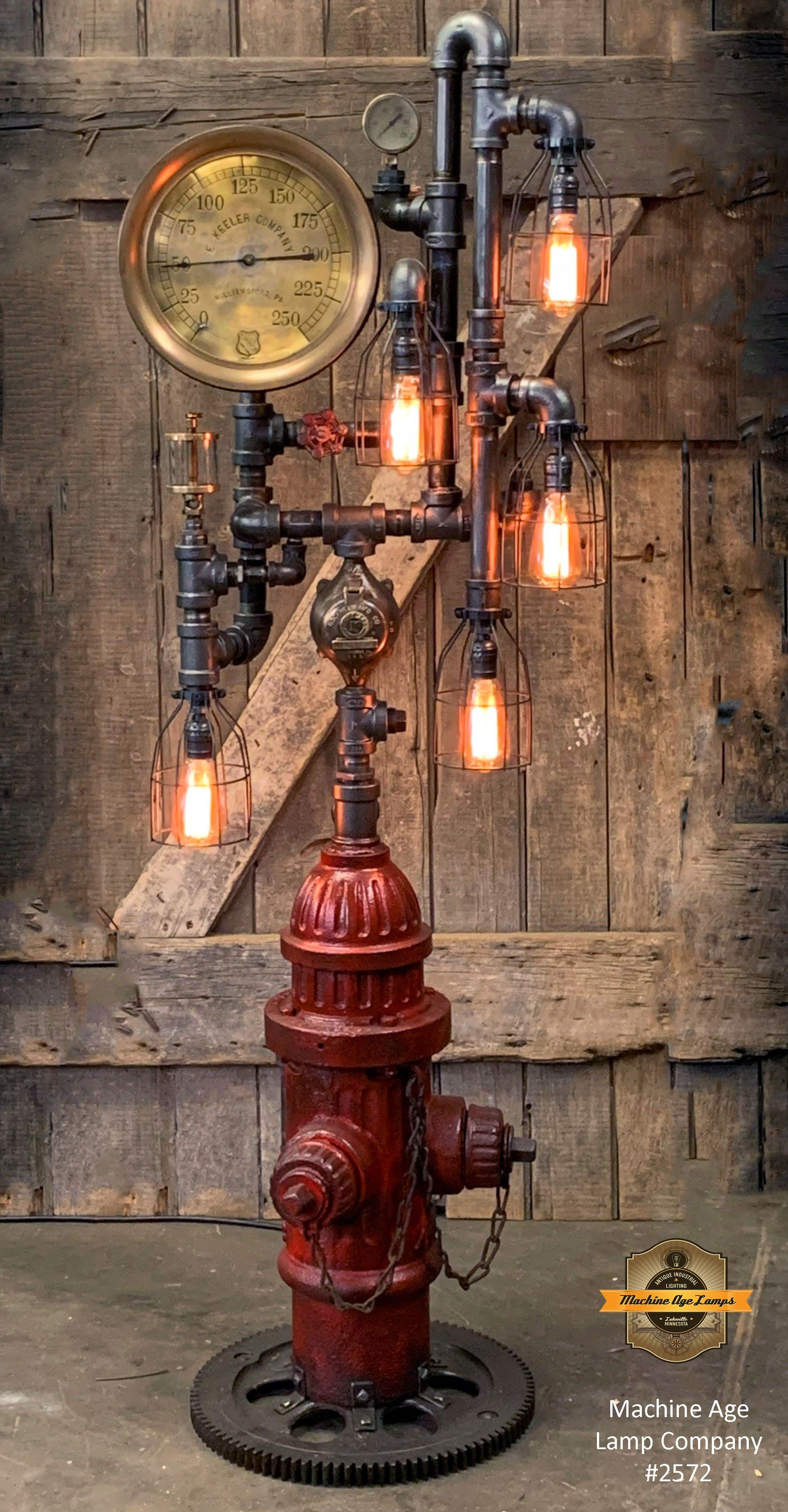 Steampunk Industrial Fire Hydrant Floor Lamp Steam Gauge Lamp 2572 Steampunk Lamp Floor Lamp Steampunk Lighting