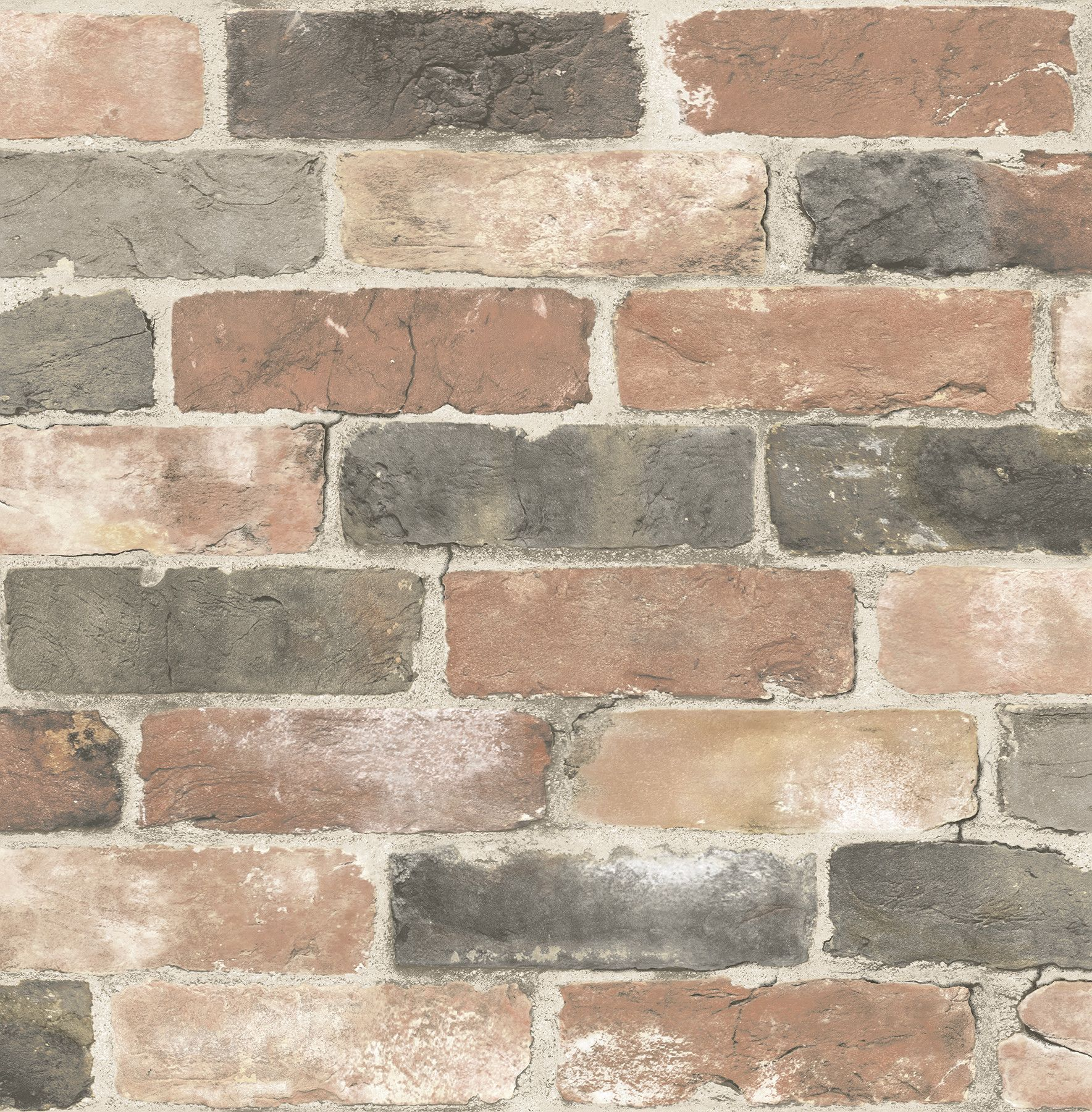 "Reclaimed Rustic 2 x 20 5"" Brick Wallpaper"