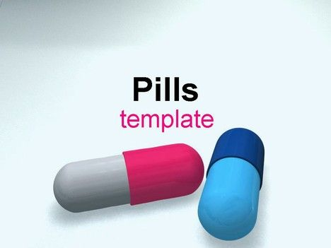 Pills medical PowerPoint template, showing two capsules, one or pink and grey and the other of blue.