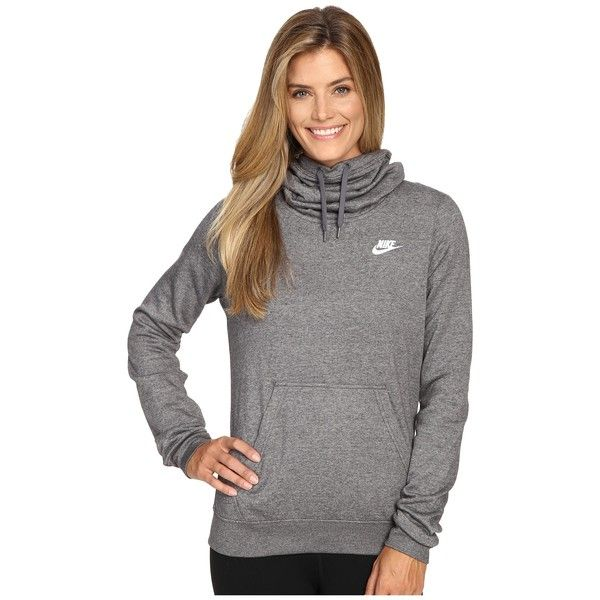 f59636dcfc5f Nike NSW Funnel Fleece (Charcoal Heather Charcoal Heather White)... ( 40) ❤  liked on Polyvore featuring tops