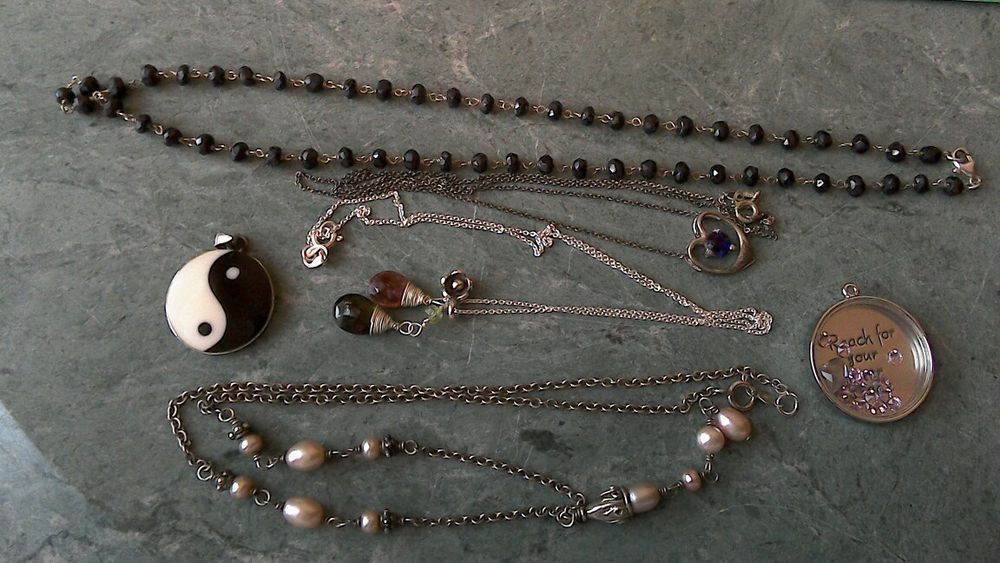 Four sterling silver chains necklaces and two pendants aloadofball Gallery