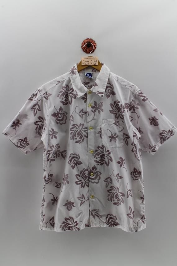 1aadef9c ALOHA TROPICAL Hawaiian Cotton Shirt Men Large Vintage Floral Abstract Shirt  Hawaii Asian Tropical P