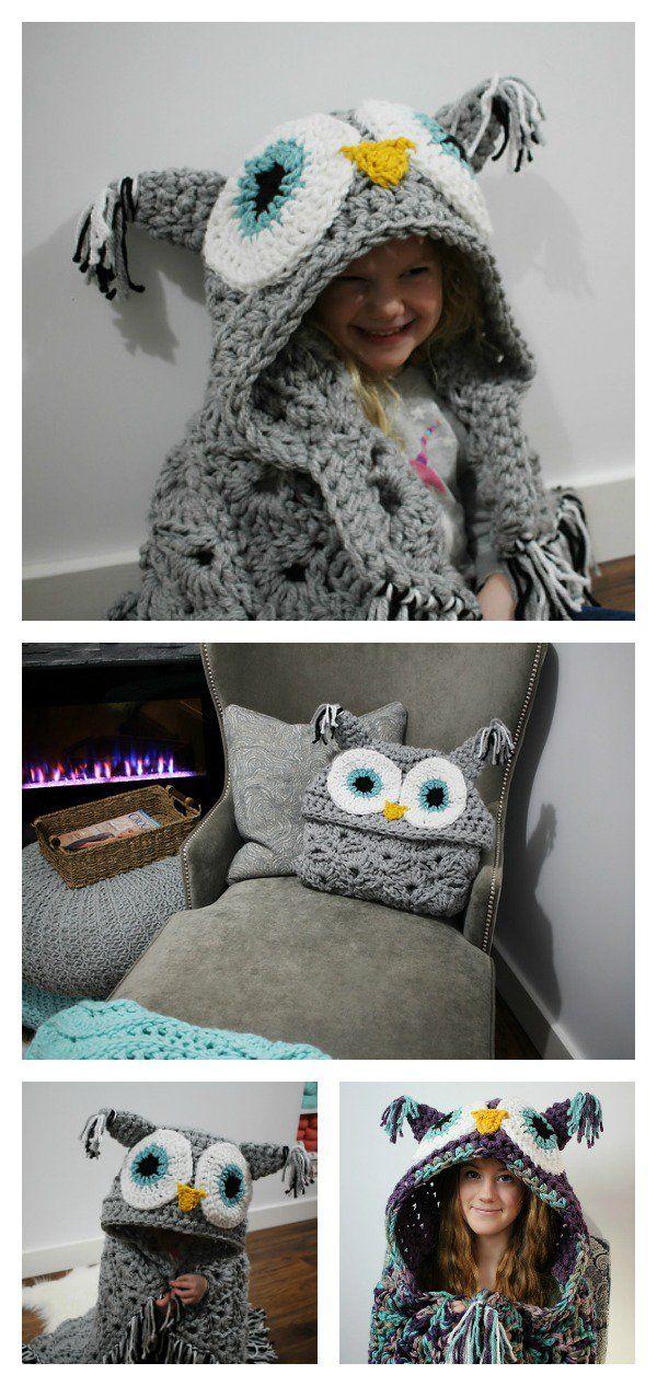 Crochet Hooded Owl Blanket Patterns   Eulen decke, Decke muster und ...