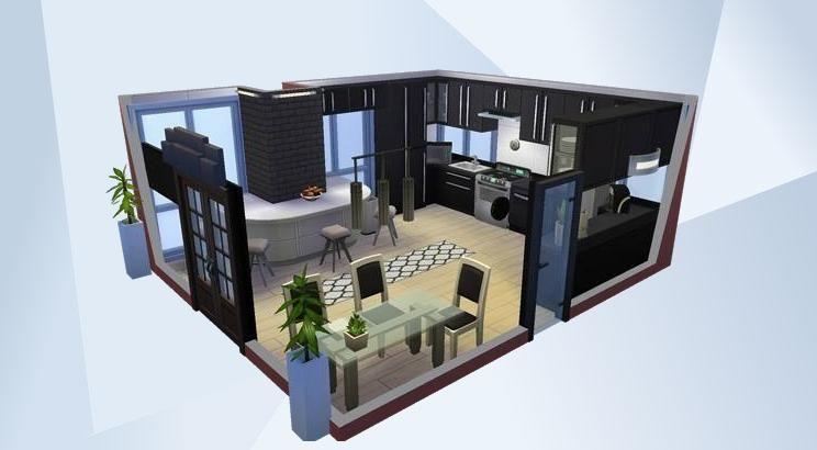 Mira esta habitación en la galería de Los Sims 4! Kitchen black - sims 3 wohnzimmer modern