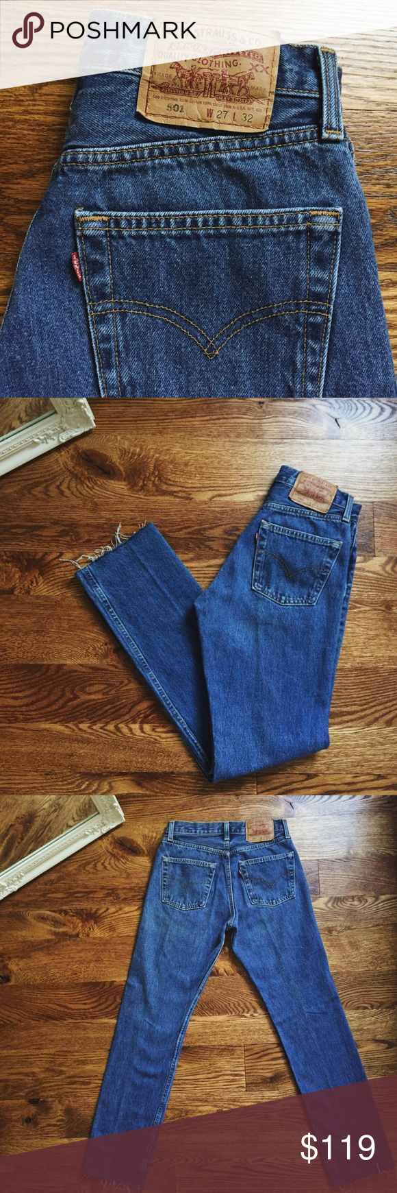 a70a2a8e Vintage 501 high waisted levis with raw hem Beautiful medium blue wash, button  fly. Marked as a size 27, best fit for a size 25. These smaller sizes are  so ...