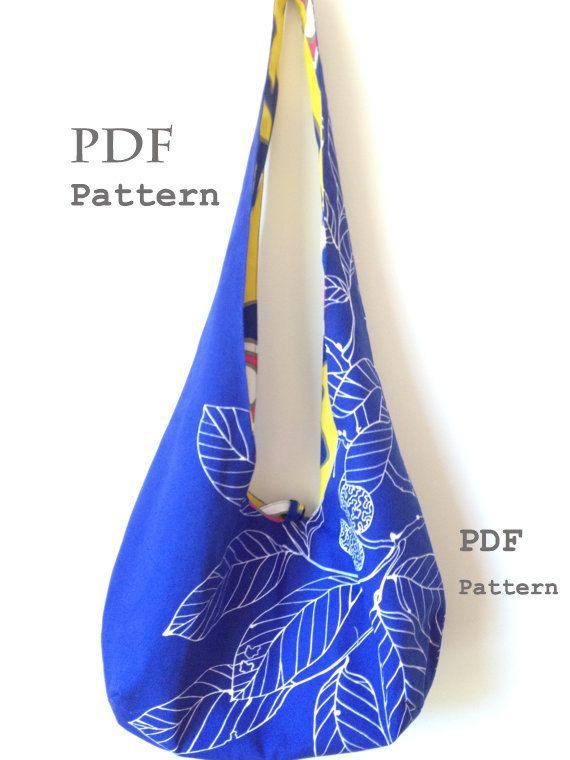 6b6668d1865 Hobo bag PDF sewing pattern reversible cross body bag by Zoia