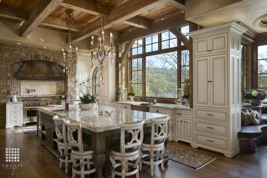 Dream Country Kitchens country kitchen with large island and rustic ceiling. #kitchens