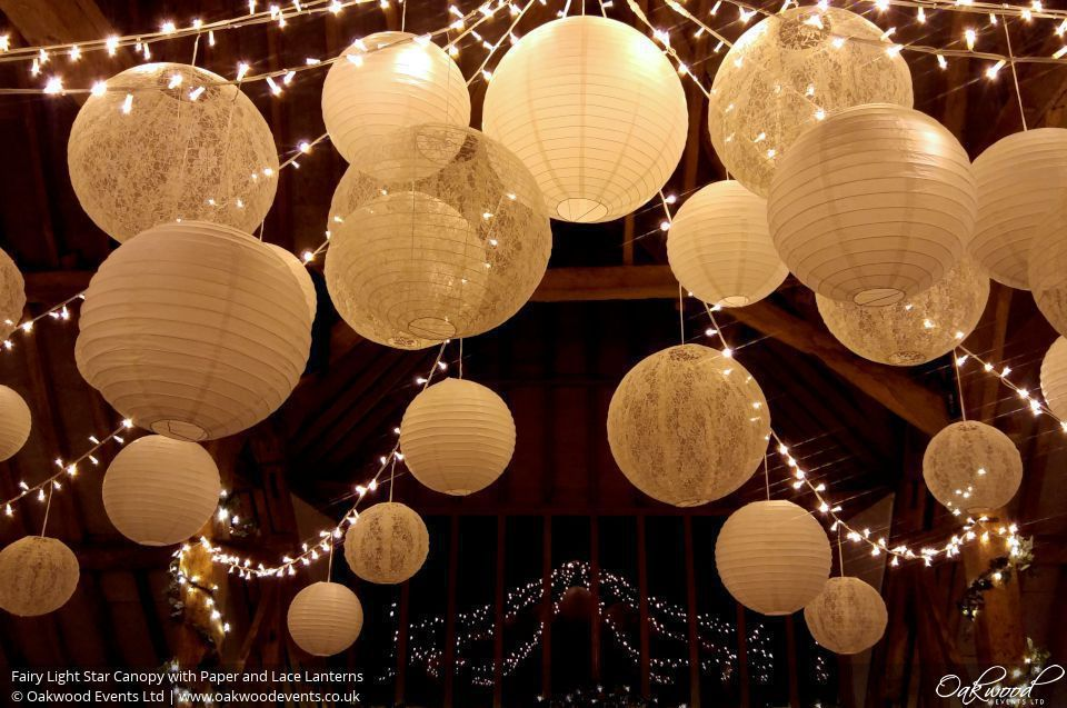 Fairy Light Star Canopy With Paper And