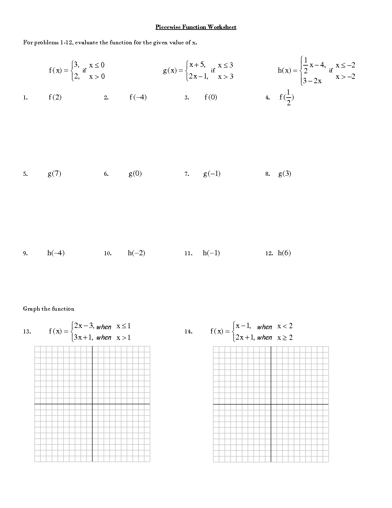 Absolute Value Function Worksheet