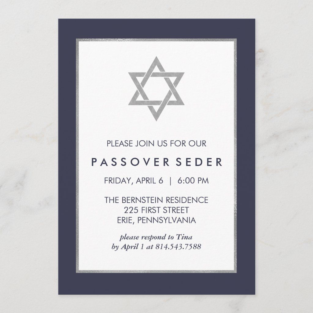 Blue And Silver Passover Seder With Star Of David Invitation Zazzle Com In 2021 Seder Passover Seder Blue And Silver