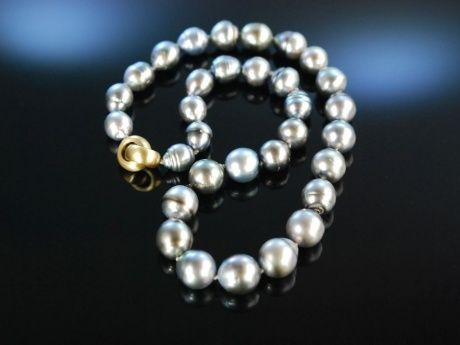 Elegant Grey Tahitian Pearl Necklace! Edle Tahiti Zucht Perlen Kette Gold 750