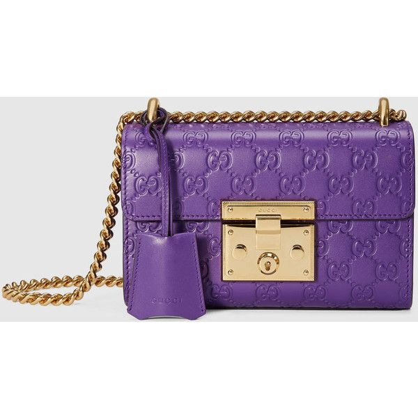 Padlock Gucci Signature Shoulder Bag 1 850 Liked On Polyvore Featuring Bags Handbags Purple Chain Strap Purse