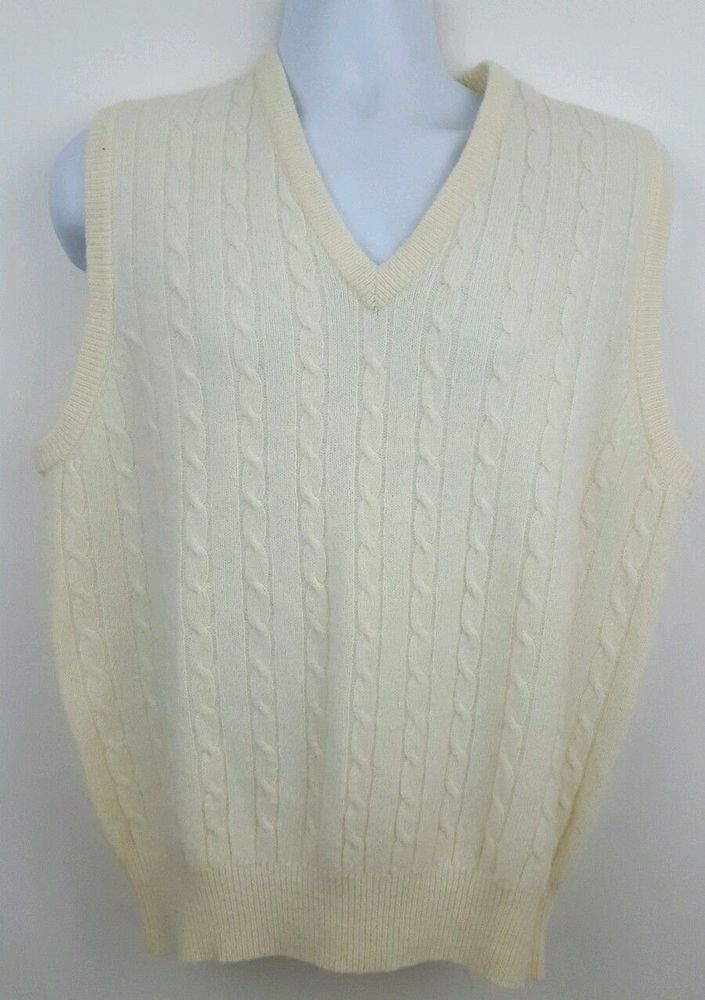 New Austin Reed Men S Wool Sweater Vest Size Large White Cable Knit Sweater Vest Wool Sweater Men Sweaters
