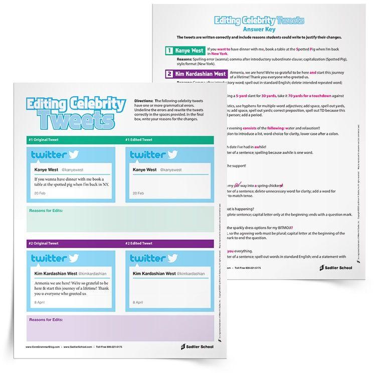 Editing Worksheets Sadlier School Editing Practice Teaching Writing Celebrities Tweets Revising and editing worksheets