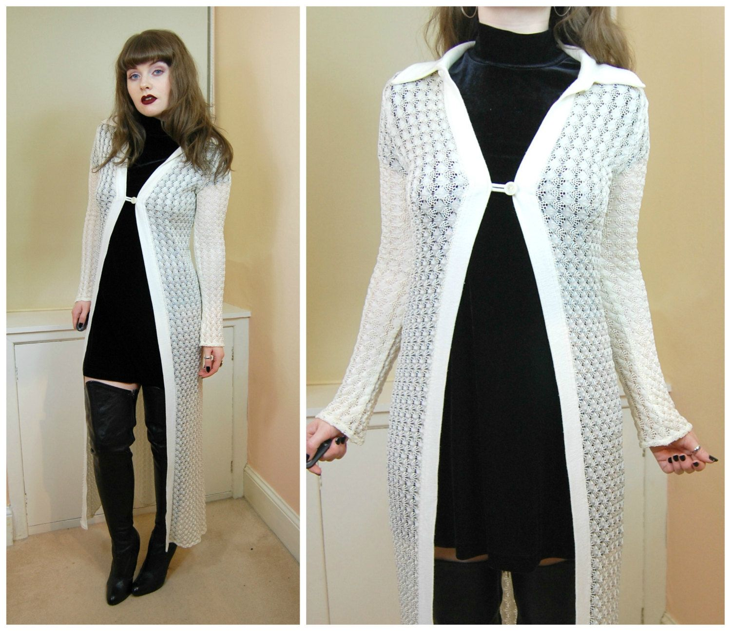 90s Grunge Goth Minimalist White Crochet Viscose Knit Single ...